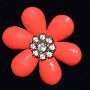 Vintage Large Flower Rhinestone Ring Size 6 1/2